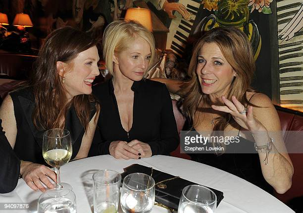 Actresses Julianne Moore Ellen Barkin and Rita Wilson attend the after party for A Single Man hosted by The Cinema Society and Bing at Monkey Bar on...