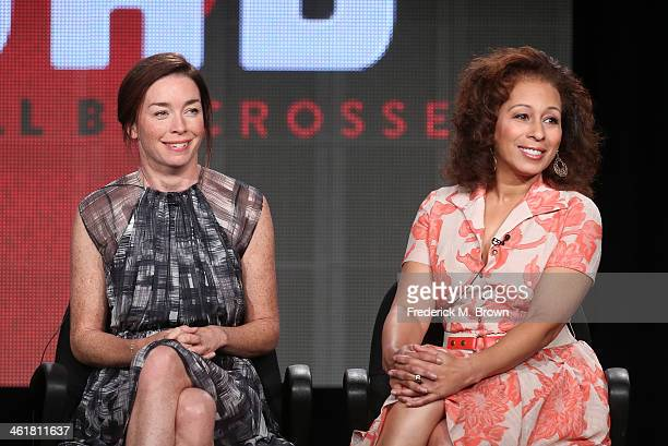 Actresses Julianne Nicholson and Tamara Tunie speak onstage during the 'Sundance Channel - The Red Road' panel discussion at the AMC/Sundance portion...