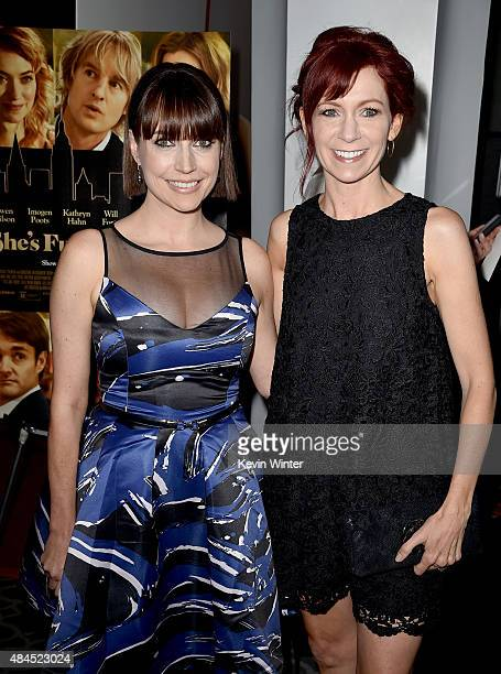 Actresses Julie Ann Emery and Carrie Preston attend the premiere of Lionsgate Premiere's She's Funny That Way at Harmony Gold on August 19 2015 in...