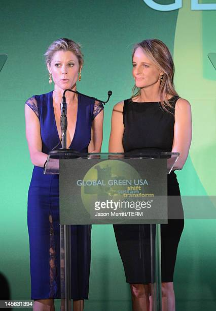 Actresses Julie Bowen and Helen Hunt attend the 16th Annual Global Green USA Millennium Awards held at Fairmont Miramar Hotel on June 2, 2012 in...
