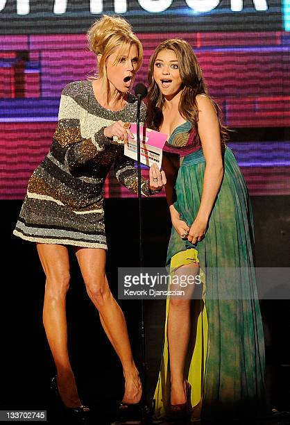 Actresses Julie Bowen and Sarah Hyland speak onstage at the 2011 American Music Awards held at Nokia Theatre L.A. LIVE on November 20, 2011 in Los...