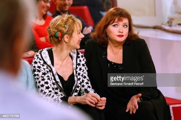 Actresses Julie Depardieu and Catherine Jacob attend 'Vivement Dimanche' French TV Show at Pavillon Gabriel on November 26 2013 in Paris France