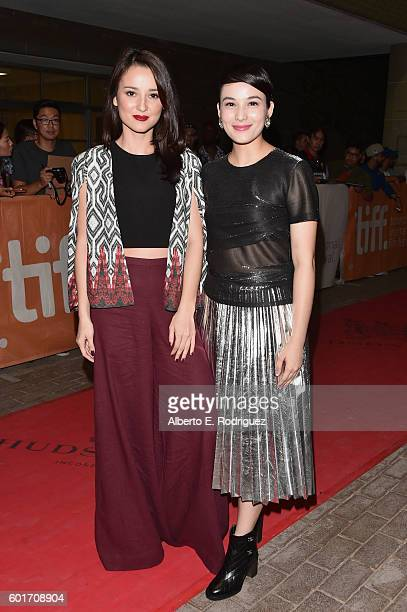 Actresses Julie Estelle and Chelsea Islan attend the Headshot premiere during the 2016 Toronto International Film Festival at Ryerson Theatre on...