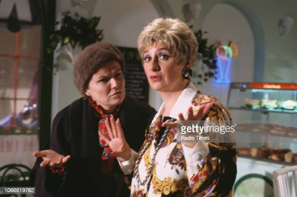 Actresses Julie Walters and Victoria Wood in a scene from the BBC television special 'Victoria Wood's All Day Breakfast', December 6th 1992.