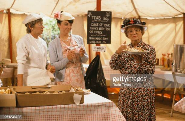 Actresses Juliette Kaplan Sarah Thomas and Thora Hird in a carnival scene from episode 'That's Not Captain Zero' of the BBC television sitcom 'Last...