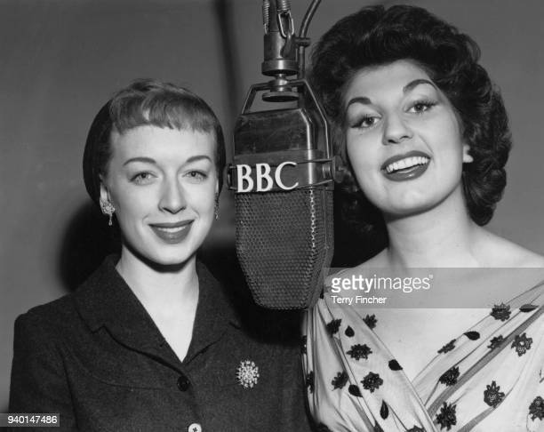 Actresses June Whitfield and Alma Cogan at a rehearsal for the BBC show 'Take It From Here' 20th October 1953 They are replacing Joy Nichols who has...