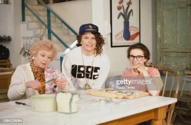 Actresses June Whitfield Jennifer Saunders and Julia Sawalha on the set of the television sitcom 'Absolutely Fabulous' during the filming of episode...