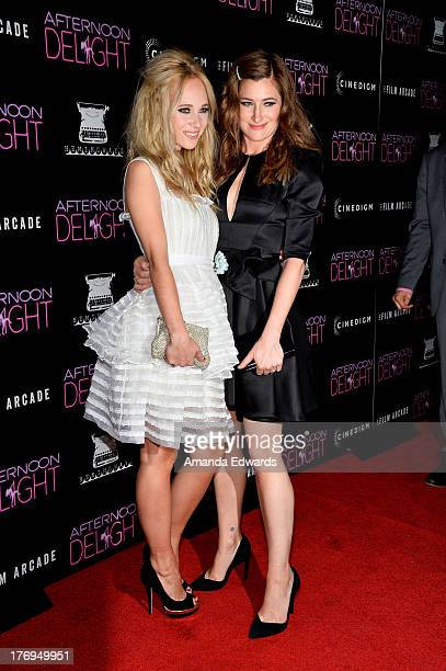 Actresses Juno Temple and Kathryn Hahn arrrive at the Los Angeles premiere of 'Afternoon Delight' at ArcLight Hollywood on August 19 2013 in...