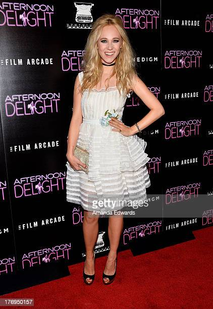 Actresses Juno Temple arrrives at the Los Angeles premiere of 'Afternoon Delight' at ArcLight Hollywood on August 19 2013 in Hollywood California