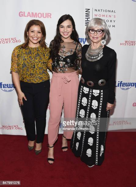 Actresses Justina Machado Isabella Gomez and Rita Moreno arrive at the 6th Annual Women Making History Awards at The Beverly Hilton Hotel on...
