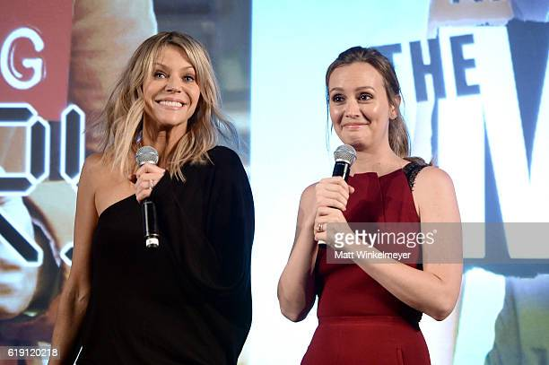 Actresses Kaitlin Olson and Leighton Meester speak onstage during the 'Making History' panel and of 'The Mick' at Entertainment Weekly's PopFest at...