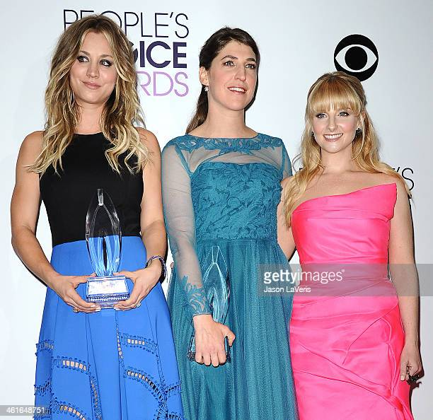 Actresses Kaley Cuoco, Mayim Bialik and Melissa Rauch pose in the press room at the 40th annual People's Choice Awards at Nokia Theatre L.A. Live on...