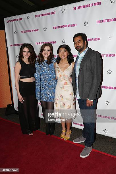 Actresses Kara Hayward Georgie Henley Willa CuthrellTuttleman and actor Kal Penn attend 'The Sisterhood Of Night' New York premiere on April 2 2015...