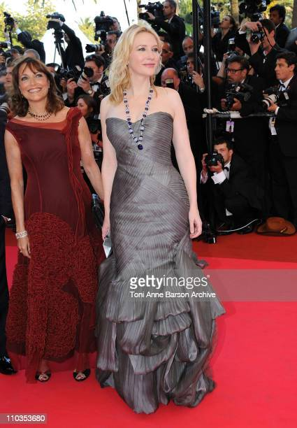 Actresses Karen Allen and Cate Blanchett attends the Indiana Jones and the Kingdom of the Crystal Skull premiere at the Palais des Festivals during...