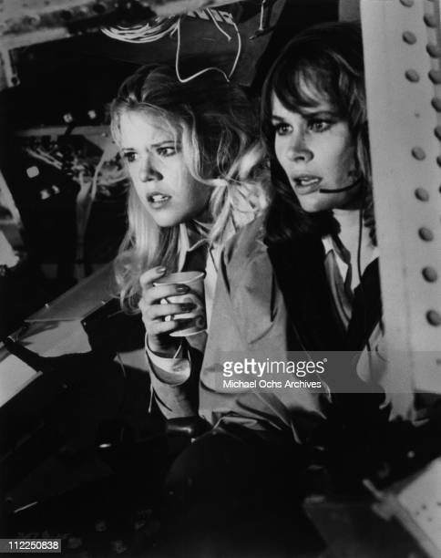 Actresses Karen Black and Christopher Norris in a scene from the movie 'Airport 1975' in 1974 in California