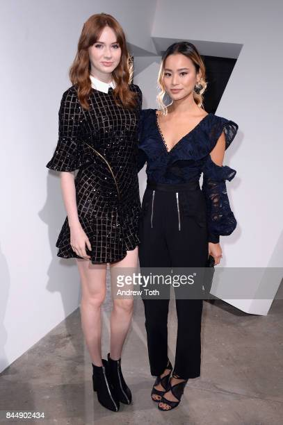 Actresses Karen Gillan and Jamie Chung attend the SelfPortrait Spring Summer 2018 Front Row during New York Fashion Week on September 9 2017 in New...
