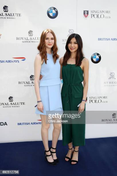 Actresses Karen Gillan Left and Gemma Chan attend the Sentebale Royal Salute Polo Cup on June 5 2017 in Singapore The Sentebale Royal Salute Polo Cup...