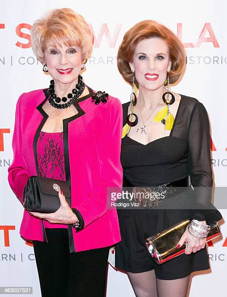 Actresses Karen sharpe and Kat Kramer attend the LA Art Show 2014 Opening Night Premiere Party at Los Angeles Convention Center on January 15 2014 in...