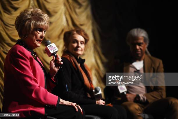 Actresses Karen Sharpe Kramer and Katharine Houghton and film critic Elvis Mitchell attend the Film Independent Screening and QA of Guess Who's...