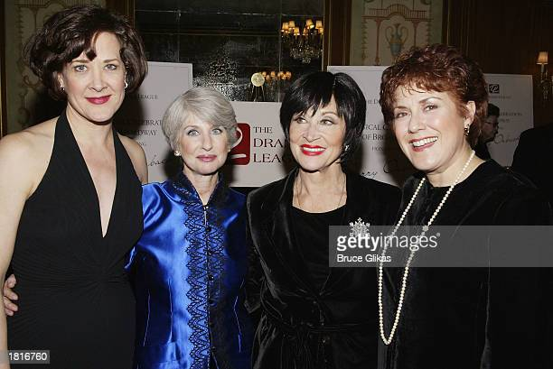 Actresses Karen Ziemba Drama League President Patricia S Follert Chita Rivera and Judy Kaye attend the Drama League Tribute to Jerry Orbach at the...