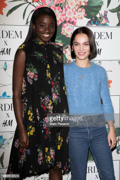 Actresses Karidja Toure and Lola Le Lann attend the 'ERDEM X HM' Paris Collection Launch at Hotel du Duc on October 26 2017 in Paris France