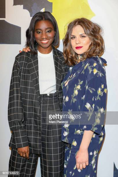 Actresses Karidja Toure and Morgane Polanski attend the HM show as part of the Paris Fashion Week Womenswear Fall/Winter 2018/2019 on February 28...