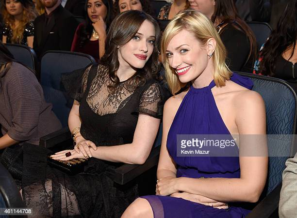 Actresses Kat Dennings and Beth Behrs attend The 41st Annual People's Choice Awards at Nokia Theatre LA Live on January 7, 2015 in Los Angeles,...