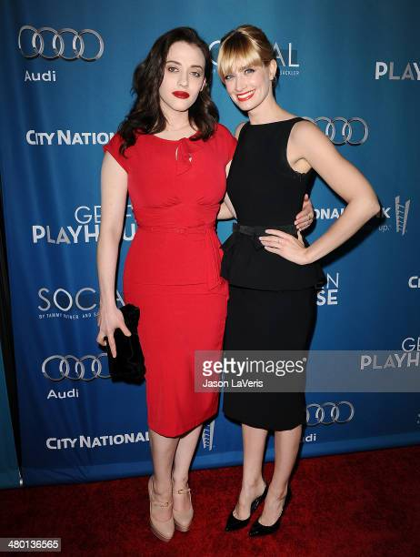 Actresses Kat Dennings and Beth Behrs attend the Backstage at the Geffen annual fundraiser at Geffen Playhouse on March 22 2014 in Los Angeles...