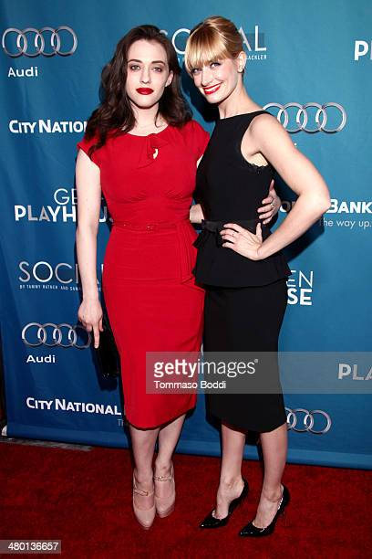 Actresses Kat Dennings and Beth Behrs attend the Backstage At The Geffen annual fundraiser held at Geffen Playhouse on March 22, 2014 in Los Angeles,...