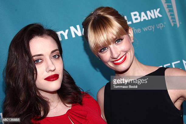 Actresses Kat Dennings and Beth Behrs attend the Backstage At The Geffen annual fundraiser held at Geffen Playhouse on March 22 2014 in Los Angeles...