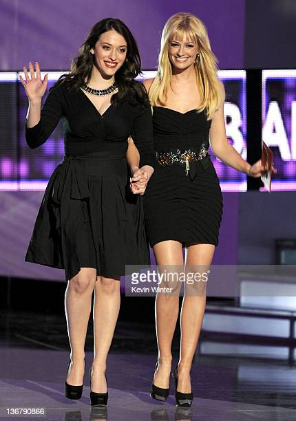 Actresses Kat Dennings and Beth Behrs speak onstage at the 2012 People's Choice Awards at Nokia Theatre LA Live on January 11 2012 in Los Angeles...