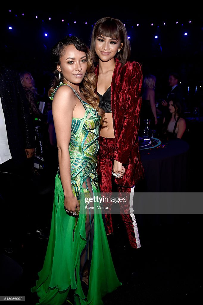 Actresses Kat Graham (L) and Zendaya backstage at the iHeartRadio Music Awards which broadcasted live on TBS, TNT, AND TRUTV from The Forum on April 3, 2016 in Inglewood, California.