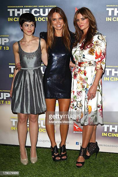 Actresses Kate Bell Alice Parkinson and Jodi Gordan attend The Cup Sydney premiere on October 11 2011 in Sydney Australia
