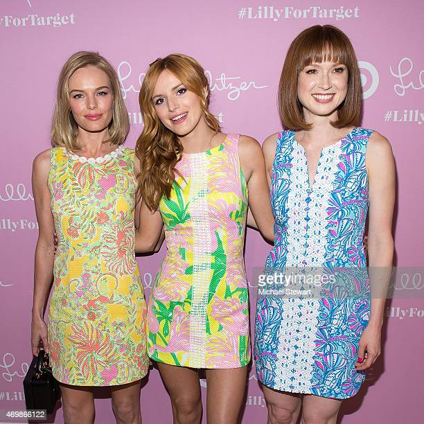Actresses Kate Bosworth Bella Thorne and Ellie Kemper attend the Lilly Pulitzer for Target Launch at Bryant Park Grill on April 15 2015 in New York...