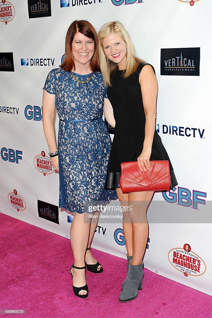 Actresses Kate Flannery (L) and Arden Myrin arrive at the Los Angeles premiere of 'G.B.F.' at Chinese 6 Theater in Hollywood on November 19, 2013 in Hollywood, California.