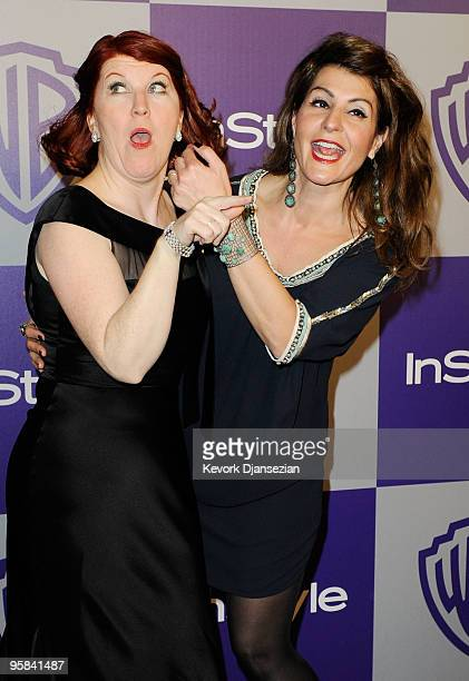 Actresses Kate Flannery and Nia Vardalos arrive at the InStyle and Warner Bros. 67th Annual Golden Globes after party held at the Oasis Courtyard at...