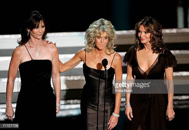 Actresses Kate Jackson Jaclyn Smith and Farrah Fawcett present onstage at the 58th Annual Primetime Emmy Awards at the Shrine Auditorium on August 27...