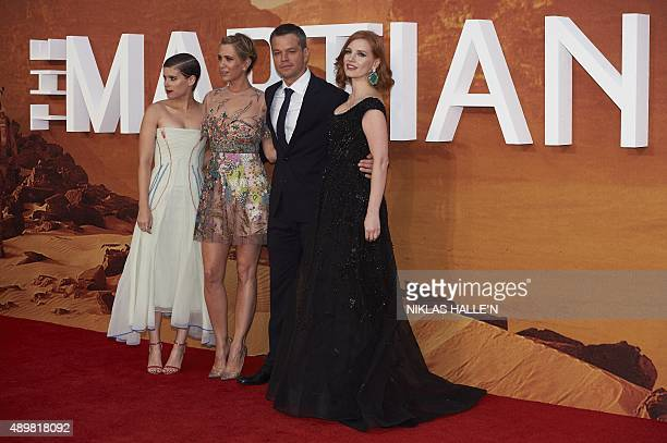 US actresses Kate Mara Kristen Wiig and Jessica Chastain and US actor Matt Damon pose for photographers as they arrive for the European premiere of...
