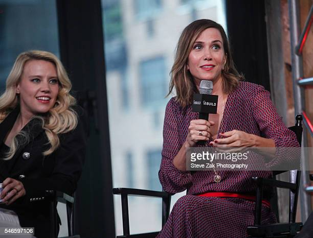 """Actresses Kate McKinnon and Kristen Wiig attend AOL Build Speaker Series: """"Ghostbusters"""" at AOL HQ on July 12, 2016 in New York City."""