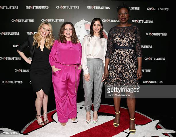 Actresses Kate McKinnon Melissa McCarthy Kristen Wiig and Leslie Jones attend CinemaCon 2016 An Evening with Sony Pictures Entertainment Celebrating...