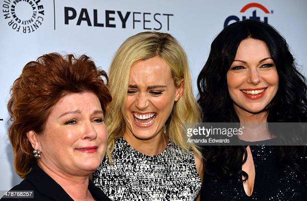 Actresses Kate Mulgrew Taylor Schilling and Laura Prepon arrive at the 2014 PaleyFest Orange Is The New Black event at the Dolby Theatre on March 14...