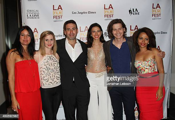 Actresses Kate Whitney Ashley Sutton director Seth Grossman actors Lara Vosburgh Morgan McClellan and Susan Ateh attend the premiere of Inner Demons...