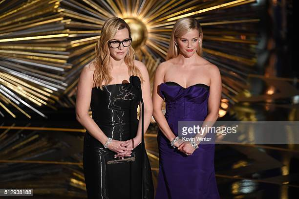 Actresses Kate Winslet and Reese Witherspoon speak onstage during the 88th Annual Academy Awards at the Dolby Theatre on February 28 2016 in...