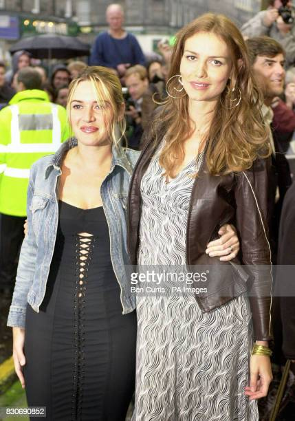 Actresses Kate Winslet and Saffron Burrows arrive for the premiere of the film 'Enigma' at the Odeon cinema in Edinburgh