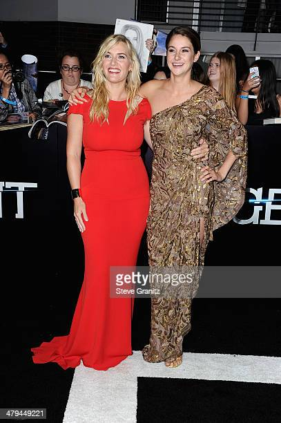 Actresses Kate Winslet and Shailene Woodley arrive at the premiere of Summit Entertainment's 'Divergent' at the Regency Bruin Theatre on March 18...
