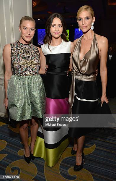 Actresses Katee Sackhoff Emma Fuhrmann and Tricia Helfer attend The Humane Society Of The United States' Los Angeles Benefit Gala at the Beverly...