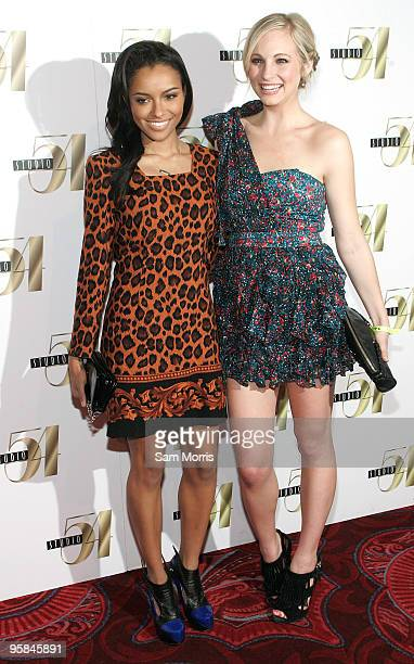 Actresses Katerina Graham and Candice Accola arrive at a 21st birthday celebration for actress Nina Dobrev at Studio 54 inside the MGM Grand...