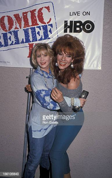 Actresses Katey Sagal and Christina Applegate attending 'Comic Relief III' on March 18 1989 at the Universal Ampitheater in Universal City California