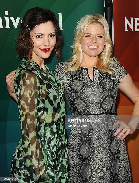Actresses Katharine McPhee and Megan Hilty attend the 2013 NBC TCA Winter Press Tour at The Langham Huntington Hotel and Spa on January 6, 2013 in...