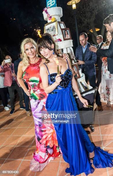 Actresses Katherine Kelly Lang and Jacqueline MacInnes Wood attend the 'The Bold and The Beautiful' 30th Anniversary Party during the 57th Monte...
